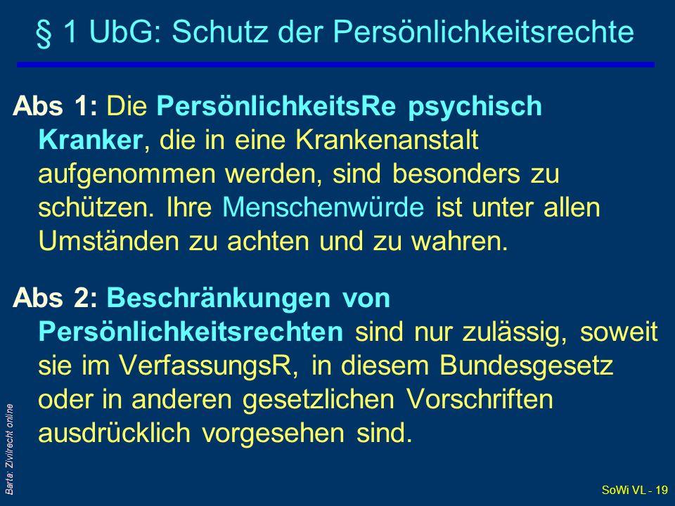 SoWi VL - 19 Barta: Zivilrecht online § 1 UbG: Schutz der Persönlichkeitsrechte Abs 1: Die PersönlichkeitsRe psychisch Kranker, die in eine Krankenans