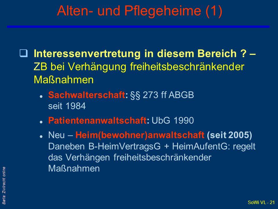 SoWi VL - 21 Barta: Zivilrecht online Alten- und Pflegeheime (1) qInteressenvertretung in diesem Bereich ? – ZB bei Verhängung freiheitsbeschränkender