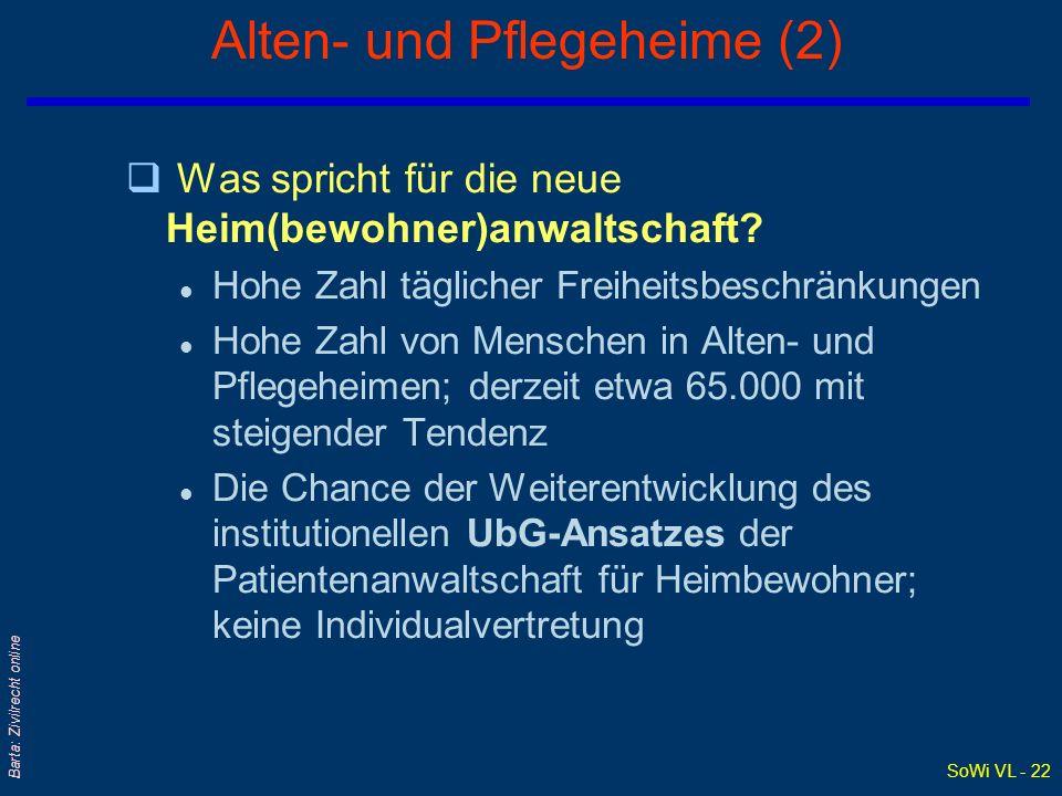 SoWi VL - 22 Barta: Zivilrecht online Alten- und Pflegeheime (2) q Was spricht für die neue Heim(bewohner)anwaltschaft? l Hohe Zahl täglicher Freiheit