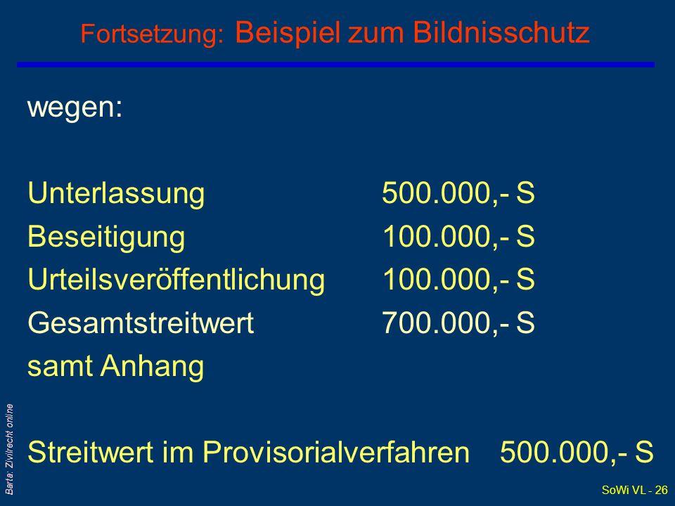 SoWi VL - 26 Barta: Zivilrecht online Fortsetzung: Beispiel zum Bildnisschutz wegen: Unterlassung 500.000,- S Beseitigung 100.000,- S Urteilsveröffent