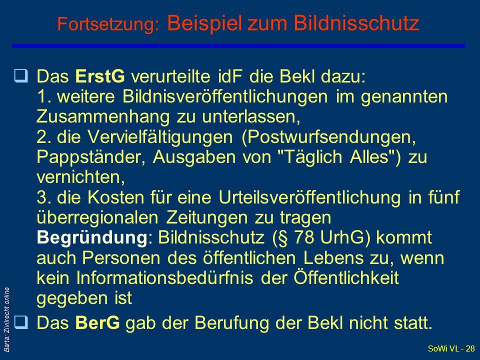 SoWi VL - 28 Barta: Zivilrecht online Fortsetzung: Beispiel zum Bildnisschutz qDas ErstG verurteilte idF die Bekl dazu: 1. weitere Bildnisveröffentlic