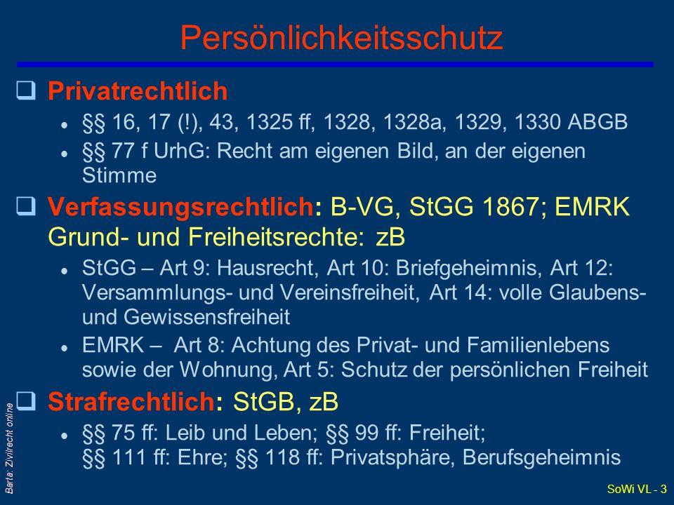 SoWi VL - 3 Barta: Zivilrecht online Persönlichkeitsschutz qPrivatrechtlich l §§ 16, 17 (!), 43, 1325 ff, 1328, 1328a, 1329, 1330 ABGB l §§ 77 f UrhG: