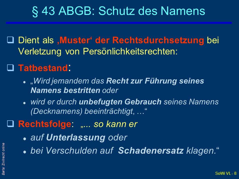 SoWi VL - 8 Barta: Zivilrecht online § 43 ABGB: Schutz des Namens qDient als Muster der Rechtsdurchsetzung bei Verletzung von Persönlichkeitsrechten: