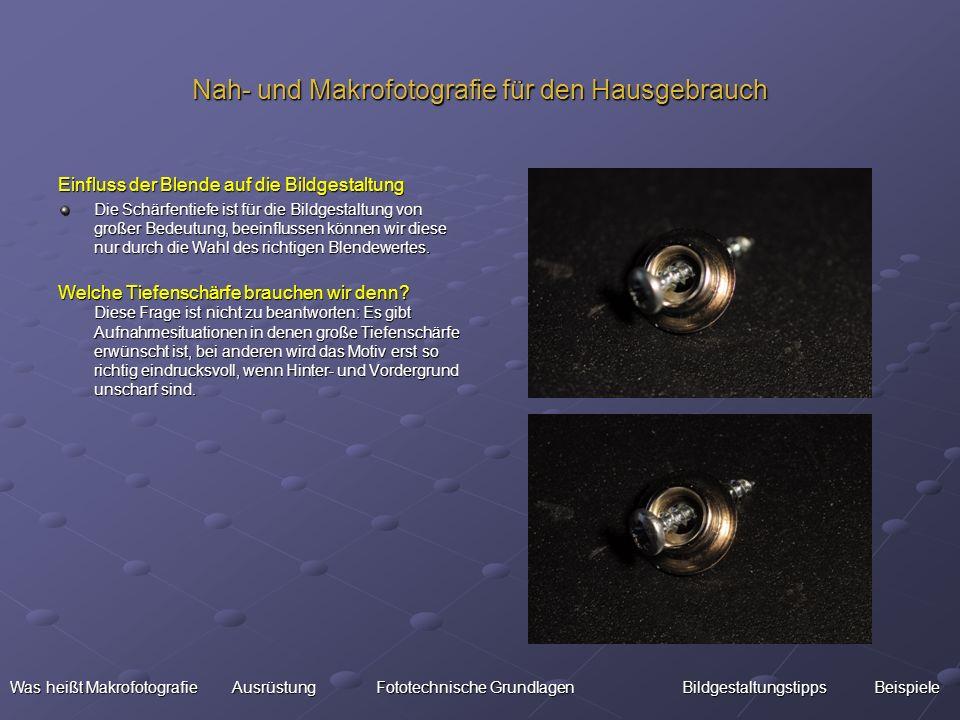 Nah- und Makrofotografie für den Hausgebrauch Einfluss der Blende auf die Bildgestaltung Die Schärfentiefe ist für die Bildgestaltung von großer Bedeu