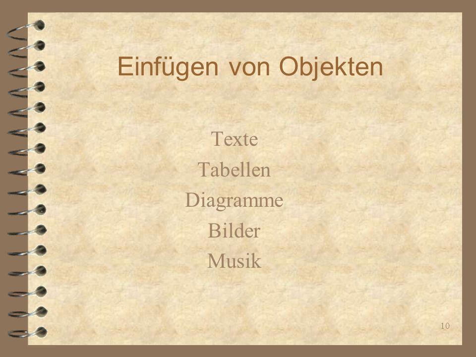 10 Einfügen von Objekten Texte Tabellen Diagramme Bilder Musik