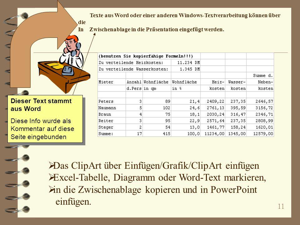 11 Das ClipArt über Einfügen/Grafik/ClipArt einfügen Excel-Tabelle, Diagramm oder Word-Text markieren, in die Zwischenablage kopieren und in PowerPoint einfügen.