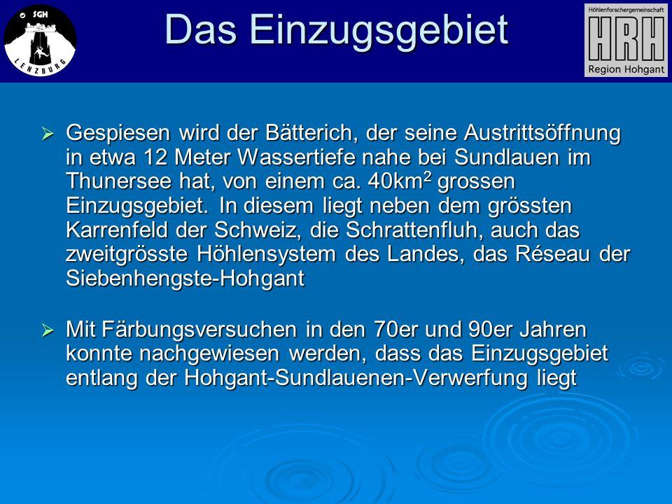 Gespiesen wird der Bätterich, der seine Austrittsöffnung in etwa 12 Meter Wassertiefe nahe bei Sundlauen im Thunersee hat, von einem ca. 40km 2 grosse