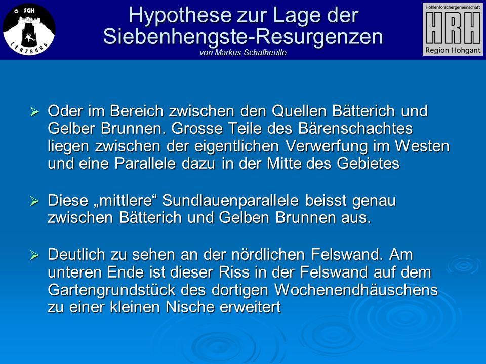 Hypothese zur Lage der Siebenhengste-Resurgenzen von Markus Schafheutle Oder im Bereich zwischen den Quellen Bätterich und Gelber Brunnen. Grosse Teil