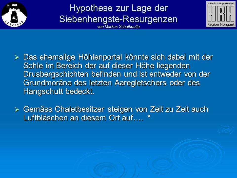 Hypothese zur Lage der Siebenhengste-Resurgenzen von Markus Schafheutle Das ehemalige Höhlenportal könnte sich dabei mit der Sohle im Bereich der auf