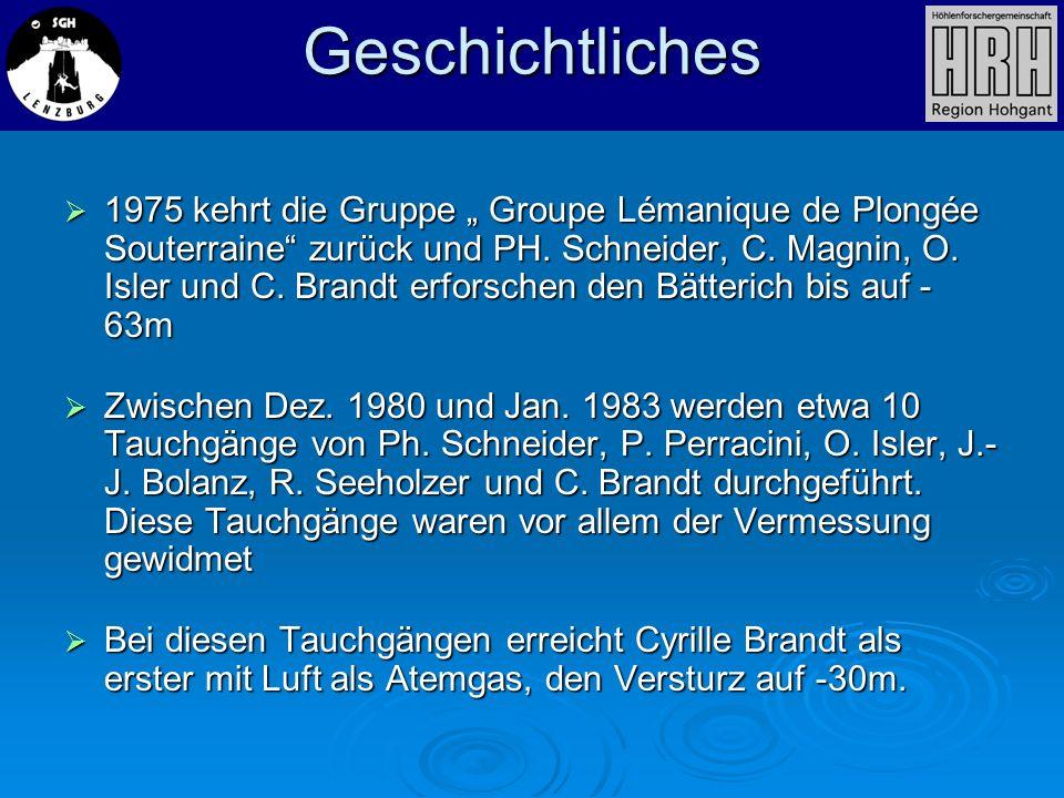 1975 kehrt die Gruppe Groupe Lémanique de Plongée Souterraine zurück und PH. Schneider, C. Magnin, O. Isler und C. Brandt erforschen den Bätterich bis