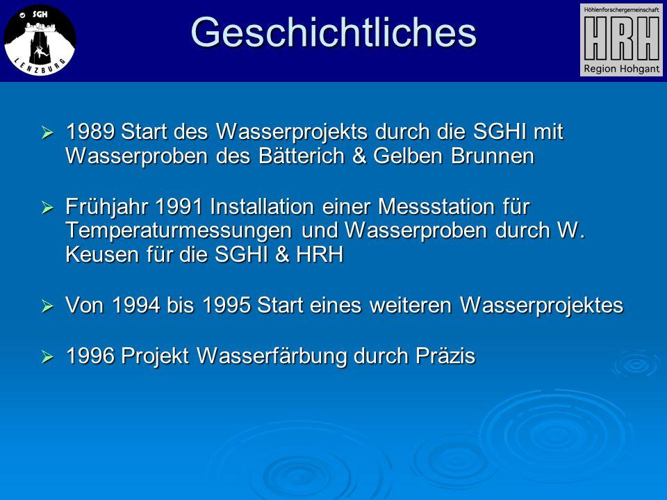 1989 Start des Wasserprojekts durch die SGHI mit Wasserproben des Bätterich & Gelben Brunnen 1989 Start des Wasserprojekts durch die SGHI mit Wasserpr