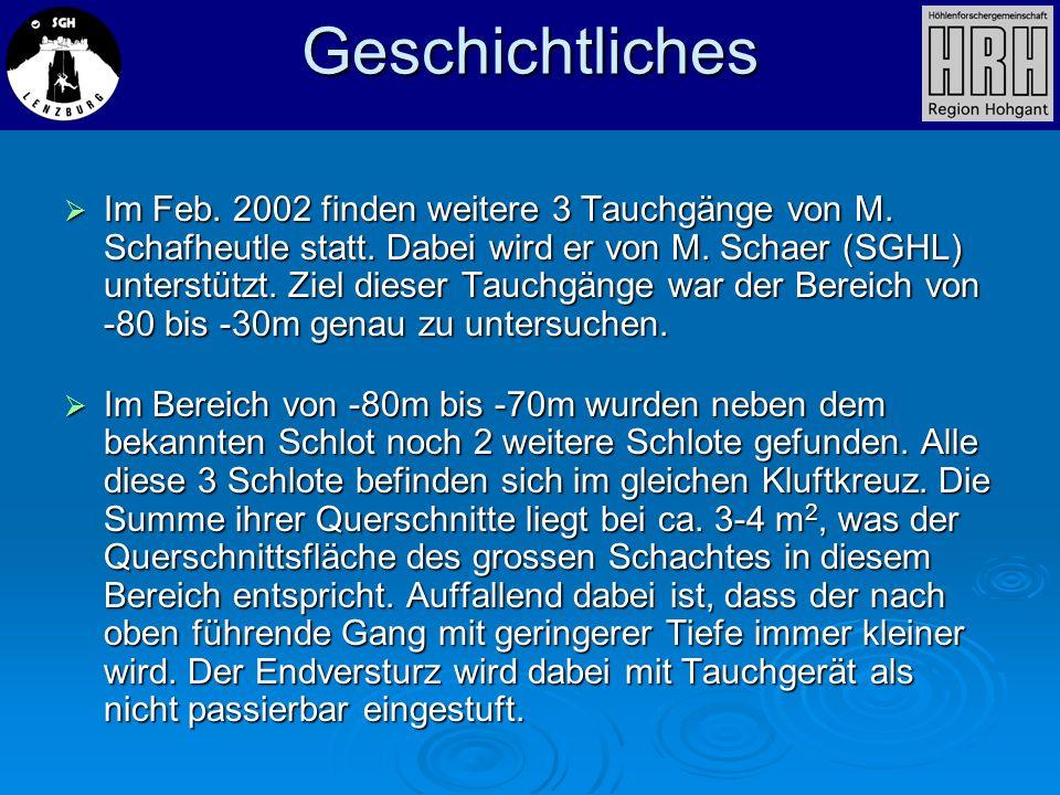 Geschichtliches Im Feb. 2002 finden weitere 3 Tauchgänge von M. Schafheutle statt. Dabei wird er von M. Schaer (SGHL) unterstützt. Ziel dieser Tauchgä