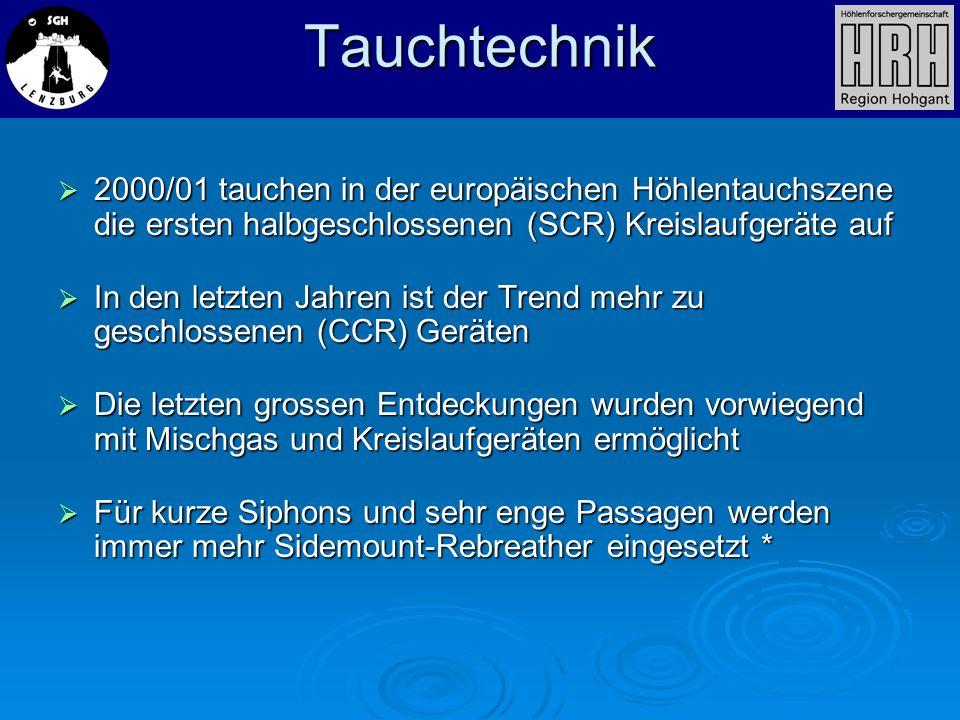 Tauchtechnik 2000/01 tauchen in der europäischen Höhlentauchszene die ersten halbgeschlossenen (SCR) Kreislaufgeräte auf 2000/01 tauchen in der europä