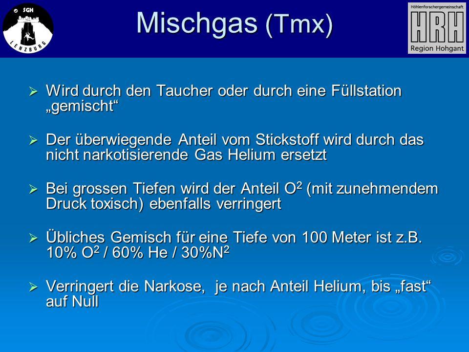 Mischgas (Tmx) Wird durch den Taucher oder durch eine Füllstation gemischt Wird durch den Taucher oder durch eine Füllstation gemischt Der überwiegend