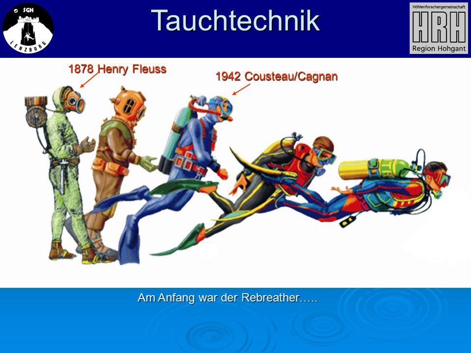 Tauchtechnik Am Anfang war der Rebreather….. 1878 Henry Fleuss 1942 Cousteau/Cagnan