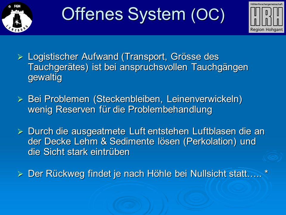 Offenes System (OC) Logistischer Aufwand (Transport, Grösse des Tauchgerätes) ist bei anspruchsvollen Tauchgängen gewaltig Logistischer Aufwand (Trans