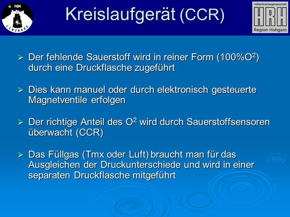 Kreislaufgerät (CCR) Der fehlende Sauerstoff wird in reiner Form (100%O 2 ) durch eine Druckflasche zugeführt Der fehlende Sauerstoff wird in reiner F