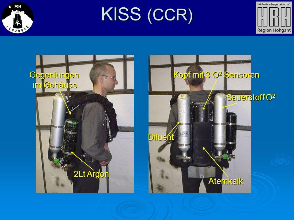 KISS (CCR) 2Lt Argon Diluent Atemkalk Kopf mit 3 O 2 Sensoren Sauerstoff O 2 Gegenlungen im Gehäuse