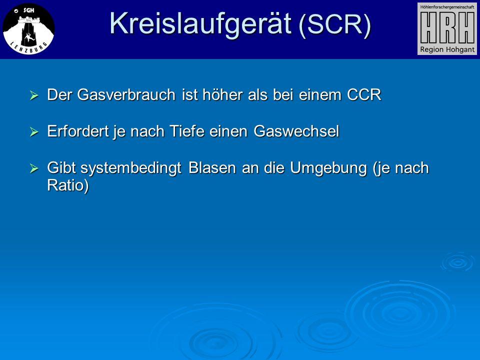 Kreislaufgerät (SCR) Der Gasverbrauch ist höher als bei einem CCR Der Gasverbrauch ist höher als bei einem CCR Erfordert je nach Tiefe einen Gaswechse