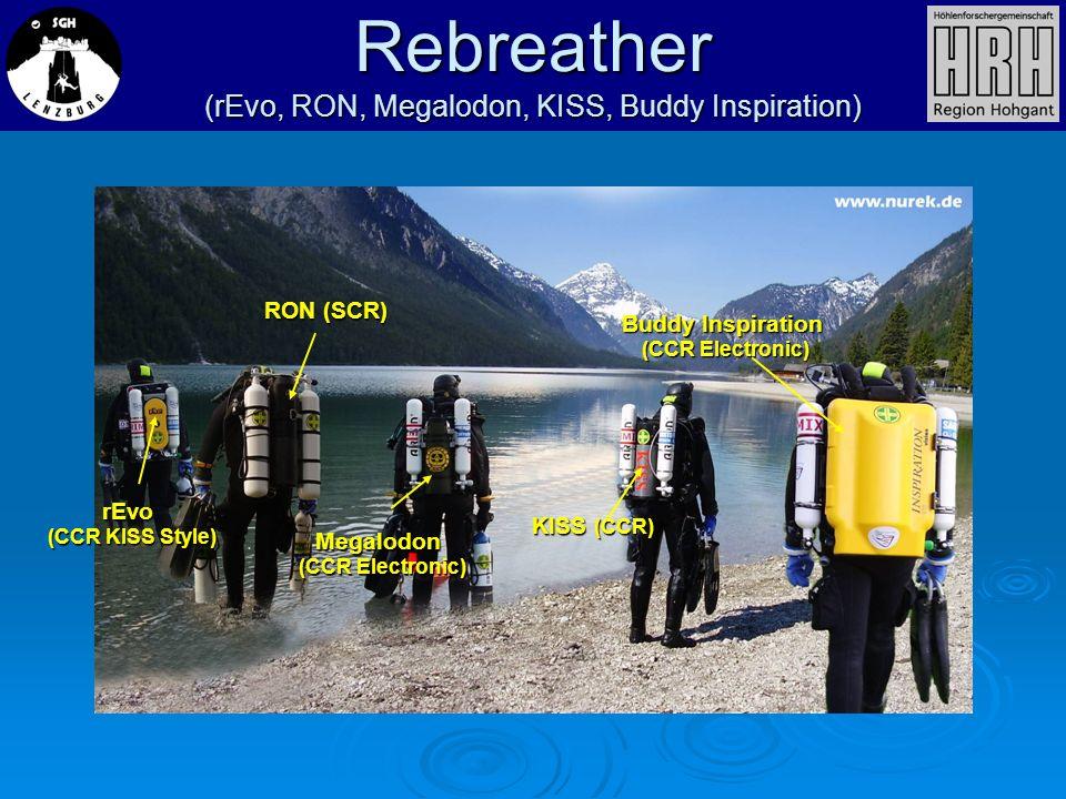 Rebreather (rEvo, RON, Megalodon, KISS, Buddy Inspiration) rEvo (CCR KISS Style) RON (SCR) Megalodon (CCR Electronic) KISS (CCR) Buddy Inspiration (CC