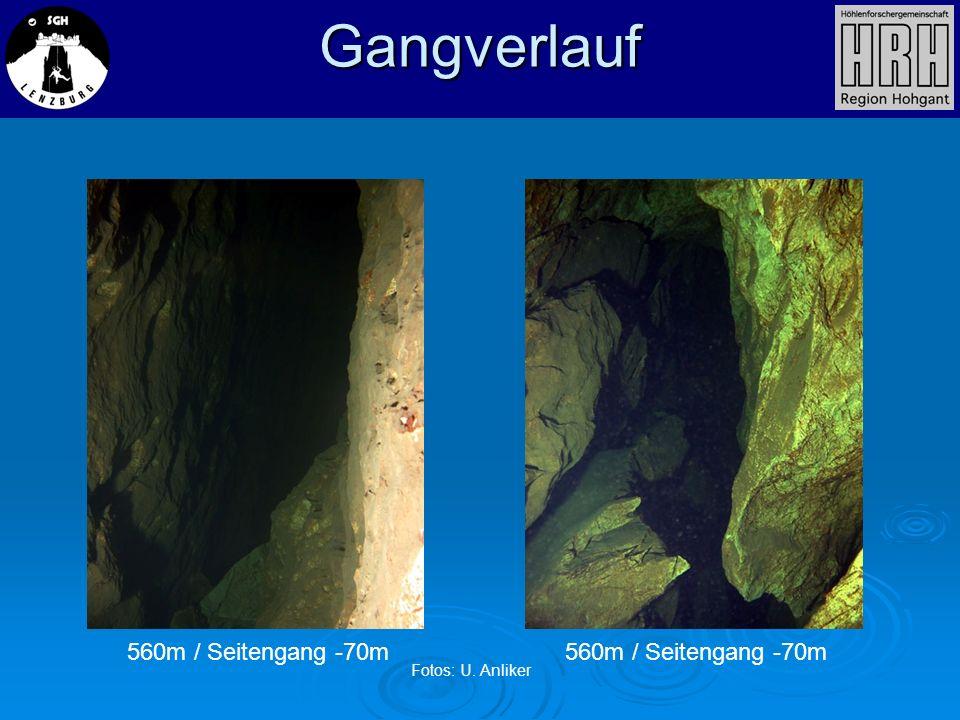 560m / Seitengang -70m Gangverlauf Fotos: U. Anliker