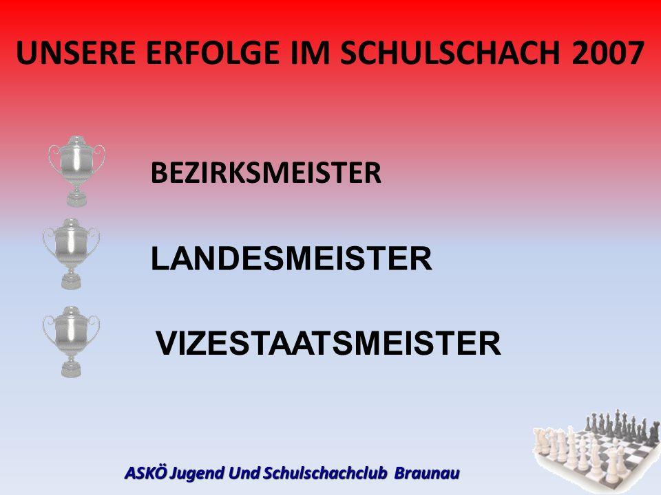 ASKÖ Jugend Und Schulschachclub Braunau UNSERE ERFOLGE IM SCHULSCHACH 2007 BEZIRKSMEISTER VIZESTAATSMEISTER LANDESMEISTER