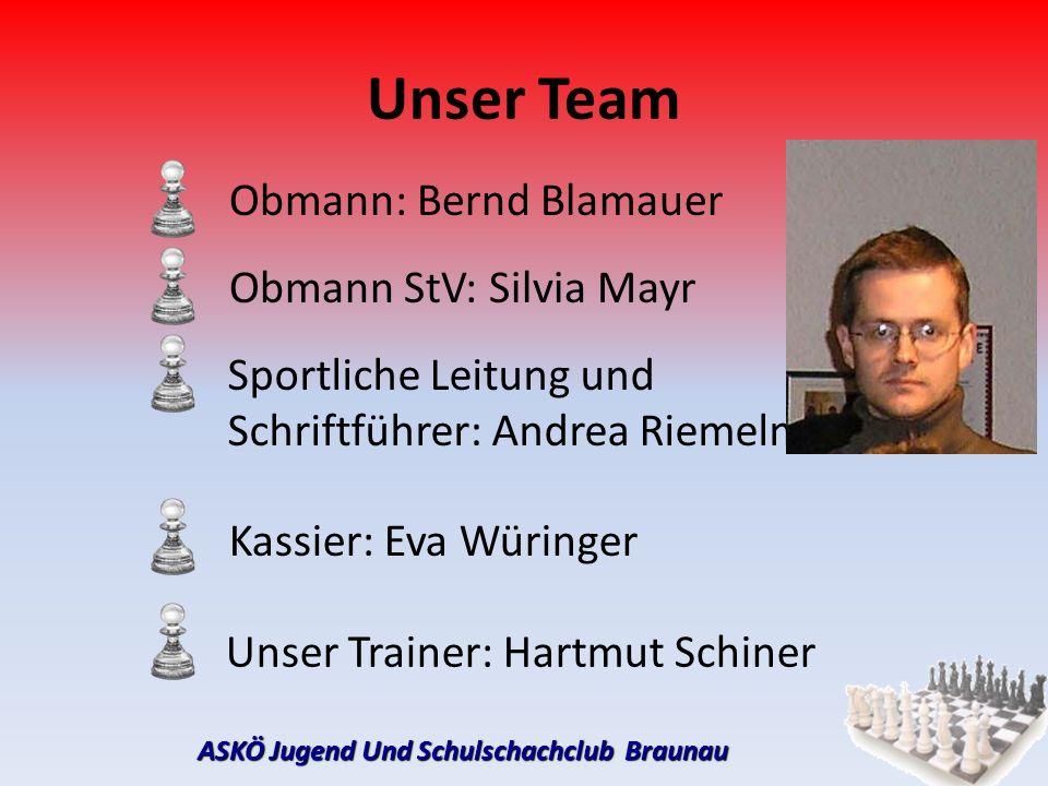 ASKÖ Jugend Und Schulschachclub Braunau Unser Team Obmann: Bernd Blamauer Obmann StV: Silvia Mayr Sportliche Leitung und Schriftführer: Andrea Riemelm