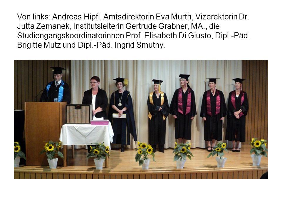 Von links: Andreas Hipfl, Amtsdirektorin Eva Murth, Vizerektorin Dr.