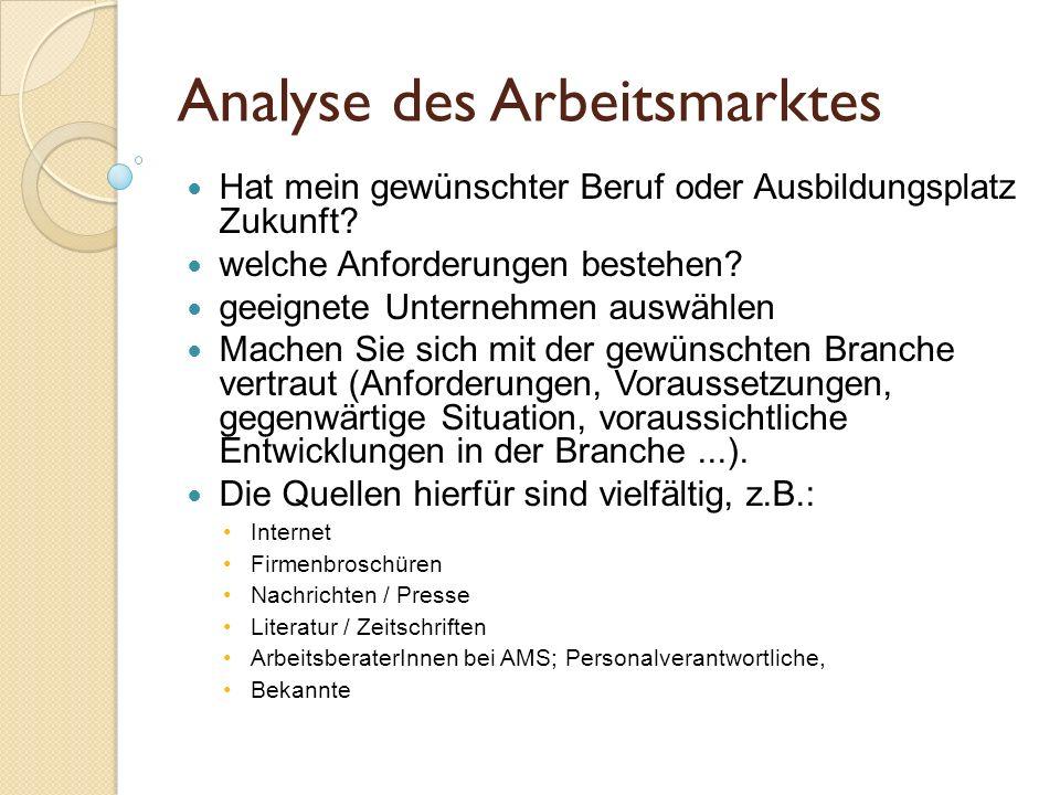Analyse des Arbeitsmarktes Hat mein gewünschter Beruf oder Ausbildungsplatz Zukunft? welche Anforderungen bestehen? geeignete Unternehmen auswählen Ma