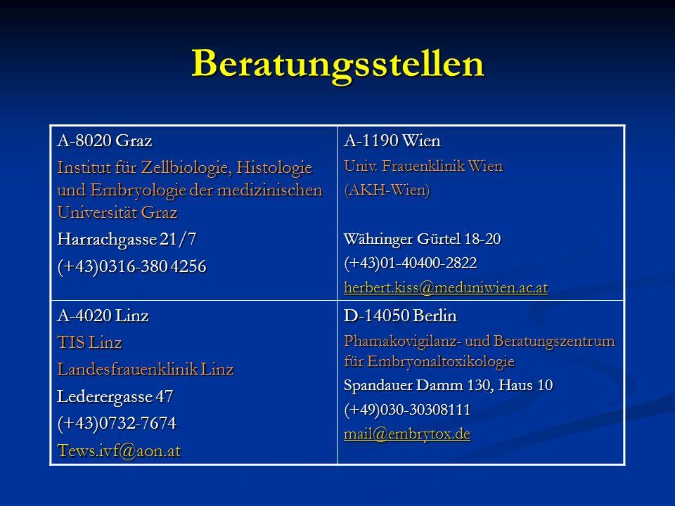Beratungsstellen A-8020 Graz Institut für Zellbiologie, Histologie und Embryologie der medizinischen Universität Graz Harrachgasse 21/7 (+43)0316-380