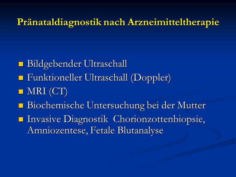 Pränataldiagnostik nach Arzneimitteltherapie Bildgebender Ultraschall Bildgebender Ultraschall Funktioneller Ultraschall (Doppler) Funktioneller Ultra