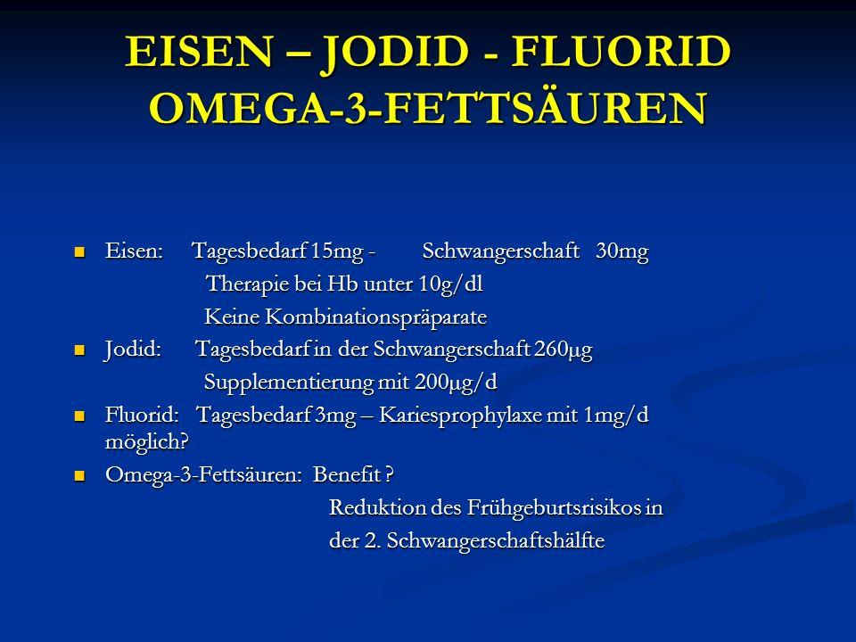 EISEN – JODID - FLUORID OMEGA-3-FETTSÄUREN Eisen: Tagesbedarf 15mg - Schwangerschaft 30mg Eisen: Tagesbedarf 15mg - Schwangerschaft 30mg Therapie bei