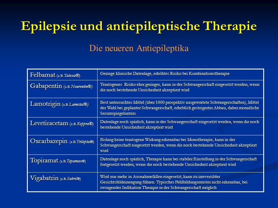 Epilepsie und antiepileptische Therapie Die neueren Antiepileptika Felbamat ( z.B.Taloxa®) Geringe klinische Datenlage, erhöhtes Risiko bei Kombinatio
