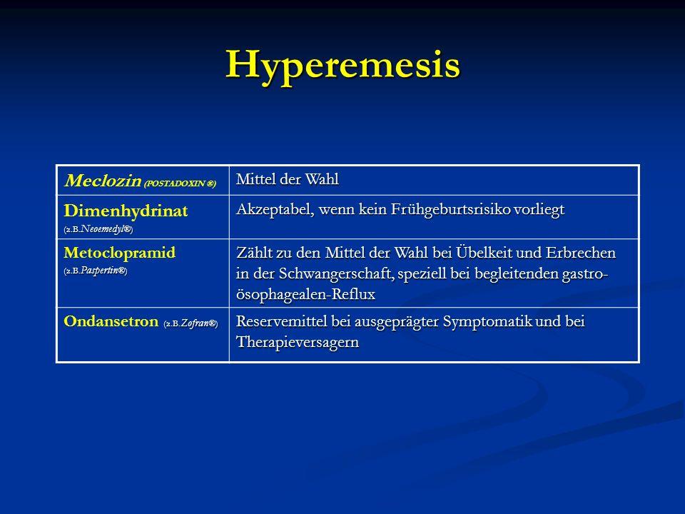 Hyperemesis Meclozin (POSTADOXIN ®) Mittel der Wahl (z.B. Neoemedyl ®) Dimenhydrinat (z.B. Neoemedyl ®) Akzeptabel, wenn kein Frühgeburtsrisiko vorlie