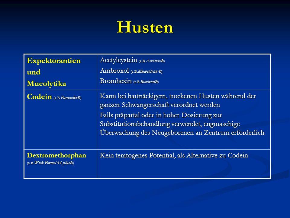 Husten Expektorantien und Mucolytika Acetylcystein (z.B.®) Acetylcystein (z.B. Aeromuc ®) Ambroxol (z.B. Mucosolvan ®) Bromhexin (z.B. Bisolvon ®) (z.