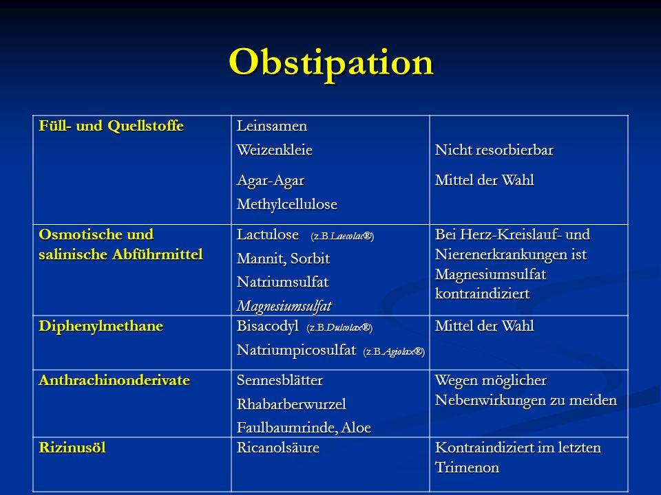 Obstipation Füll- und Quellstoffe LeinsamenWeizenkleie Nicht resorbierbar Agar-AgarMethylcellulose Mittel der Wahl Osmotische und salinische Abführmit