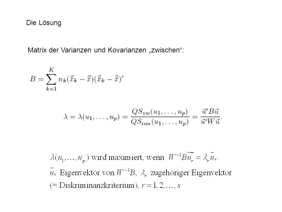Die Lösung Matrix der Varianzen und Kovarianzen zwischen:
