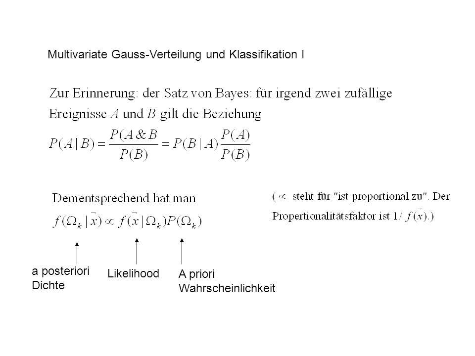 Multivariate Gauss-Verteilung und Klassifikation I a posteriori Dichte Likelihood A priori Wahrscheinlichkeit