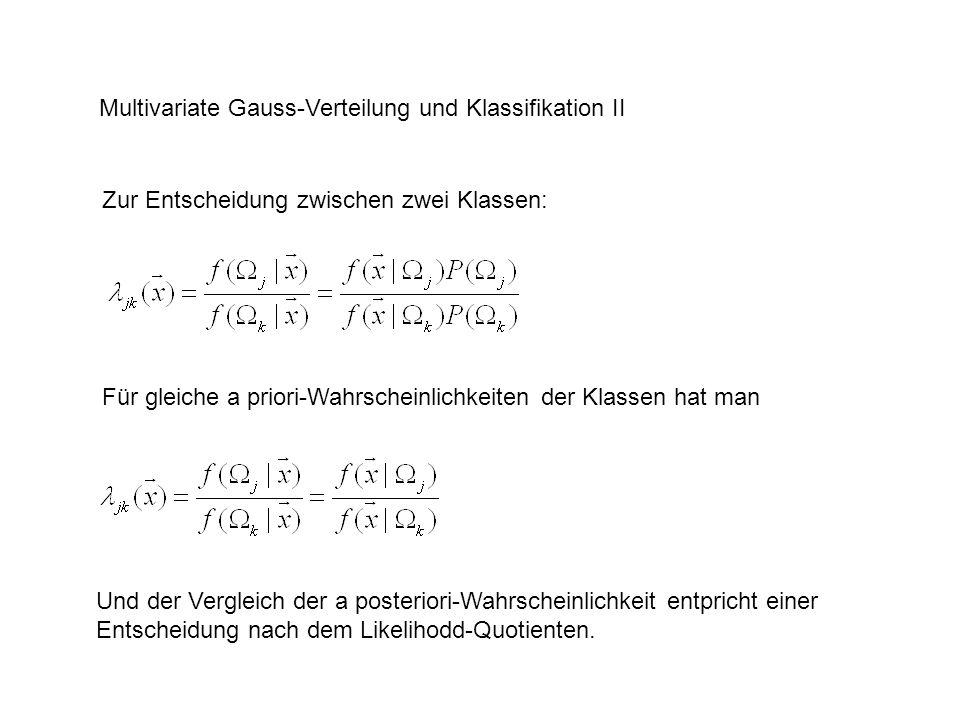 Multivariate Gauss-Verteilung und Klassifikation II Zur Entscheidung zwischen zwei Klassen: Für gleiche a priori-Wahrscheinlichkeiten der Klassen hat