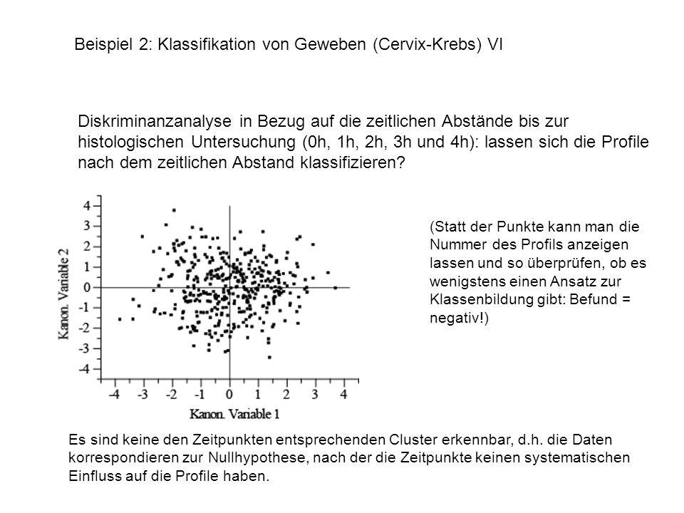 Es sind keine den Zeitpunkten entsprechenden Cluster erkennbar, d.h. die Daten korrespondieren zur Nullhypothese, nach der die Zeitpunkte keinen syste