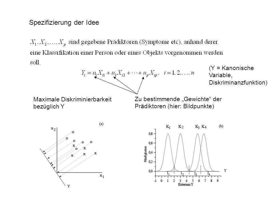 Spezifizierung der Idee Maximale Diskriminierbarkeit bezüglich Y Zu bestimmende Gewichte der Prädiktoren (hier: Bildpunkte) (Y = Kanonische Variable,