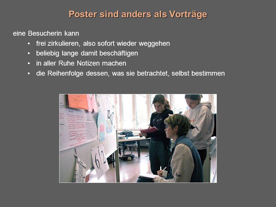 Poster sind anders als Vorträge eine Besucherin kann frei zirkulieren, also sofort wieder weggehen beliebig lange damit beschäftigen in aller Ruhe Notizen machen die Reihenfolge dessen, was sie betrachtet, selbst bestimmen
