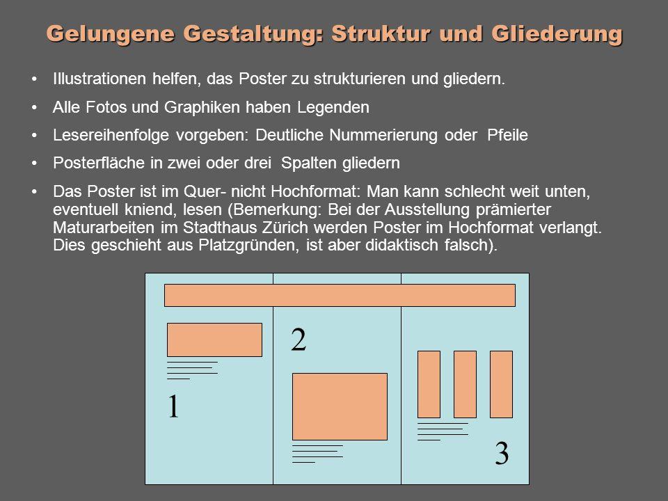 Gelungene Gestaltung: Struktur und Gliederung Illustrationen helfen, das Poster zu strukturieren und gliedern.