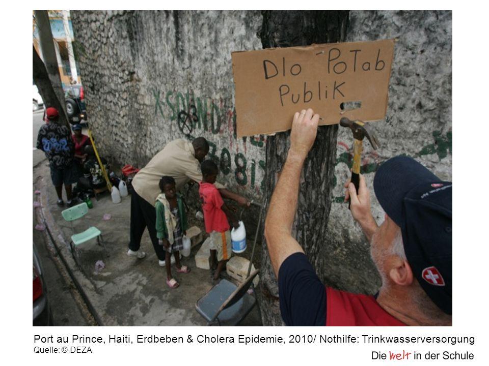 Port au Prince, Haiti, Erdbeben & Cholera Epidemie, 2010/ Nothilfe: Trinkwasserversorgung Quelle: © DEZA