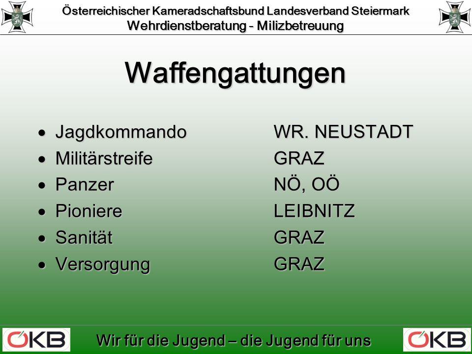 Österreichischer Kameradschaftsbund Landesverband Steiermark Wehrdienstberatung - Milizbetreuung Wir für die Jugend – die Jugend für uns Waffengattungen JagdkommandoWR.