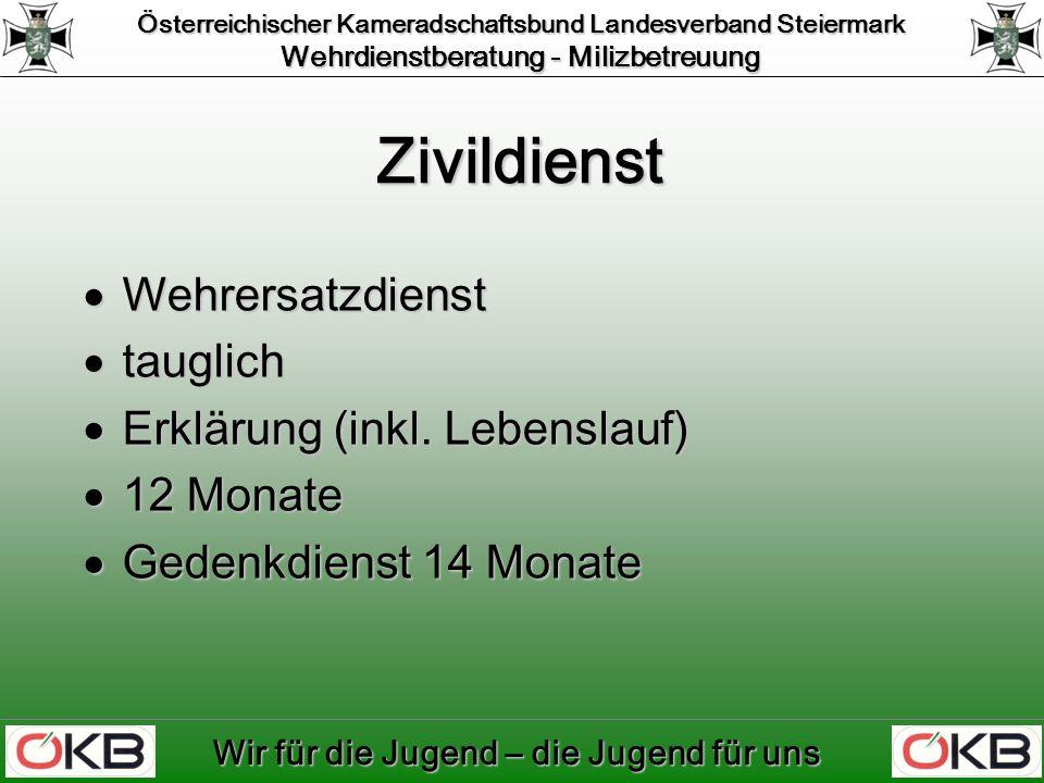 Österreichischer Kameradschaftsbund Landesverband Steiermark Wehrdienstberatung - Milizbetreuung Wir für die Jugend – die Jugend für uns Garnisonsorte Steiermark Grafik (C) BMLV