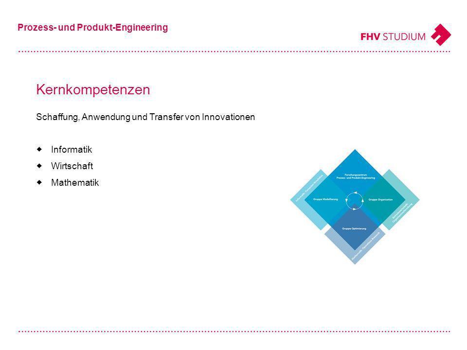 Kernkompetenzen Prozess- und Produkt-Engineering Schaffung, Anwendung und Transfer von Innovationen Informatik Wirtschaft Mathematik