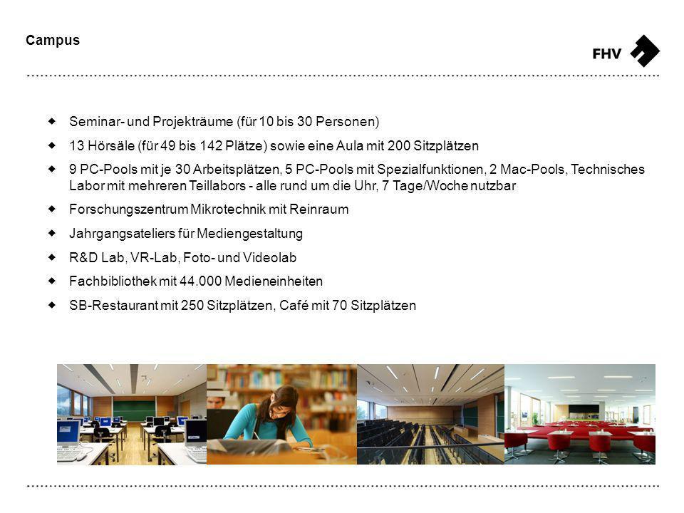 Campus Seminar- und Projekträume (für 10 bis 30 Personen) 13 Hörsäle (für 49 bis 142 Plätze) sowie eine Aula mit 200 Sitzplätzen 9 PC-Pools mit je 30 Arbeitsplätzen, 5 PC-Pools mit Spezialfunktionen, 2 Mac-Pools, Technisches Labor mit mehreren Teillabors - alle rund um die Uhr, 7 Tage/Woche nutzbar Forschungszentrum Mikrotechnik mit Reinraum Jahrgangsateliers für Mediengestaltung R&D Lab, VR-Lab, Foto- und Videolab Fachbibliothek mit 44.000 Medieneinheiten SB-Restaurant mit 250 Sitzplätzen, Café mit 70 Sitzplätzen