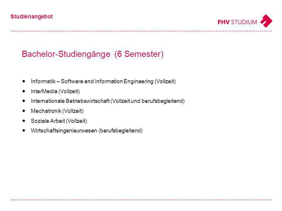 Bachelor-Studiengänge (6 Semester) Studienangebot Informatik – Software and Information Engineering (Vollzeit) InterMedia (Vollzeit) Internationale Betriebswirtschaft (Vollzeit und berufsbegleitend) Mechatronik (Vollzeit) Soziale Arbeit (Vollzeit) Wirtschaftsingenieurwesen (berufsbegleitend)