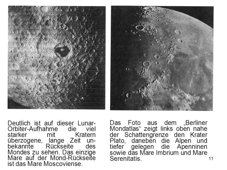 11 Deutlich ist auf dieser Lunar- Orbiter-Aufhahme die viel starker mit Kratern überzogene, lange Zeit un- bekannte Rückseite des Mondes zu sehen. Das